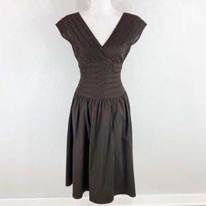 Adrianna Papell brown stripe mesh full skirt dress